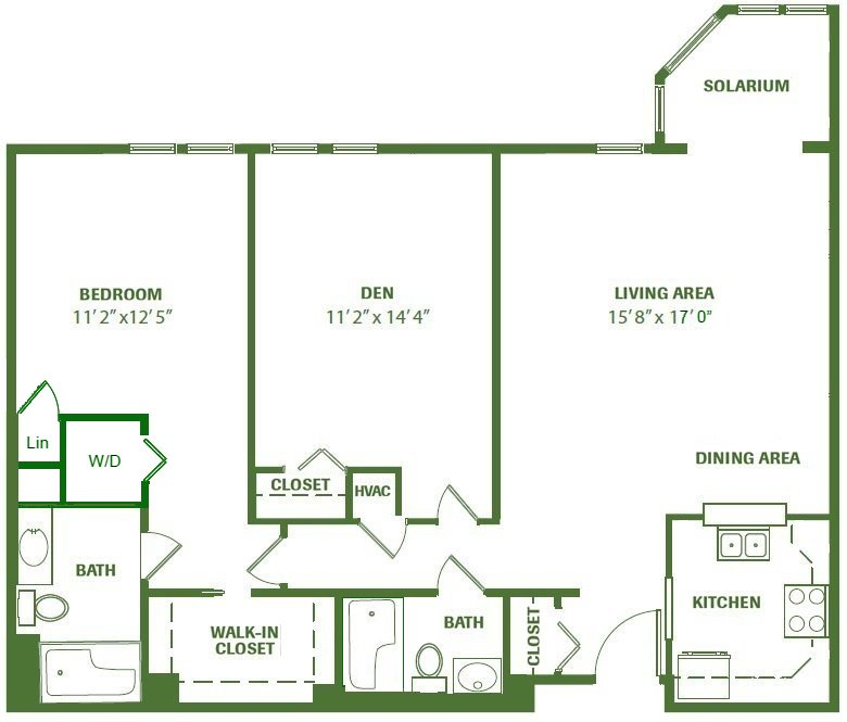 An Independent Living floorplan of a home at RiverWoods Exeter in Exeter, New Hampshire.