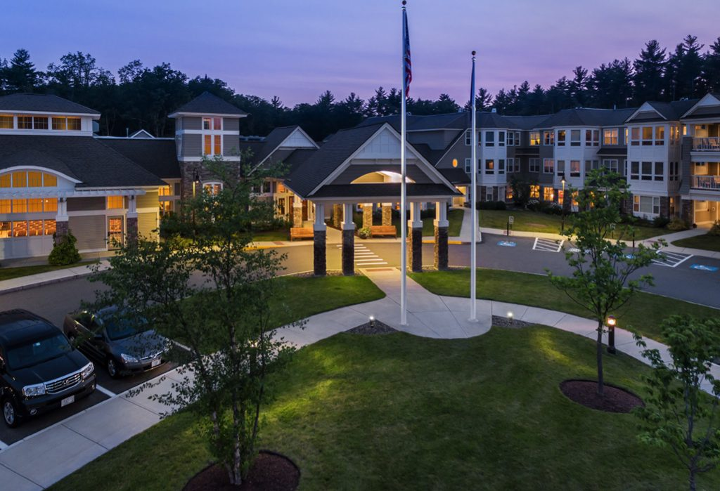 Exteriors from the Woods at RiverWoods Exeter in Exeter, New Hampshire.